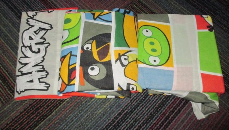NEW ROVIO ANGRY BIRDS 4 PC. FULL BED SHEET SET, 2 CASES,FLAT & FITTED SHEET,NOOP #ROVIO