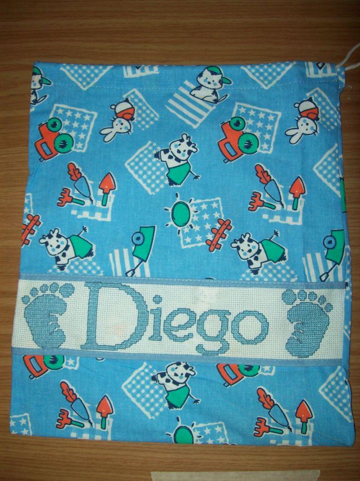 Sacca per la nascita del piccolo Diego! Sacca prodotta in Italia, 100% cotone. Filato DMC!