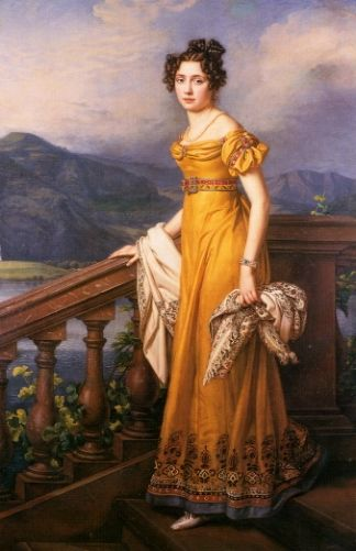 1823 Amalie Auguste, Princess of Bavaria and Queen of Saxony by Joseph Karl Stieler - higher waistline (moving down from empire), bateau neckline, pleated bodice, 1/4 length puffed sleeves