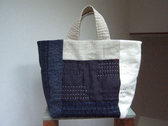 hand stitch a qulited patchwork tote bag