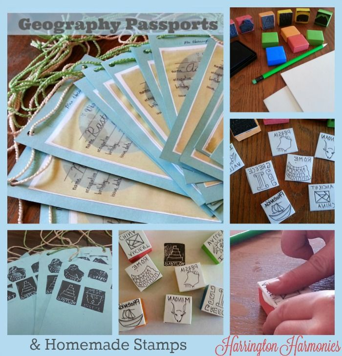 Make Your own Geography Passports and homemade stamps.