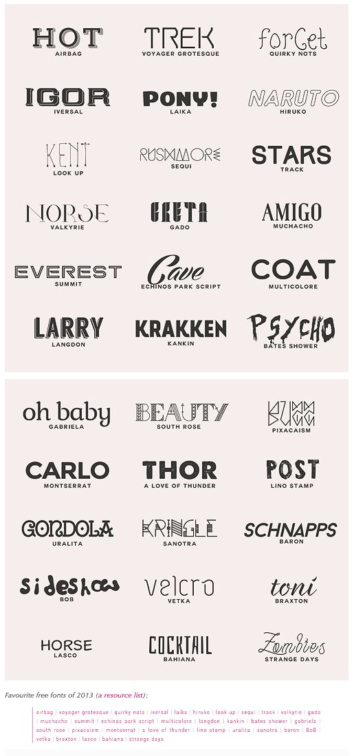 Favourite free fonts of 2013 (a resource list): airbag | voyager grotesque | quirky nots | iversal | laika | hiruko | look up | sequi | track | valkyrie | gado | muchacho | summit | echinos park script | multicolore | langdon | kankin | bates shower | gabriela | south rose | pixacaism | montserrat | a love of thunder | lino stamp | uralita | sanotra | baron | BoB | vetka | braxton | lasco | bahiana | strange days