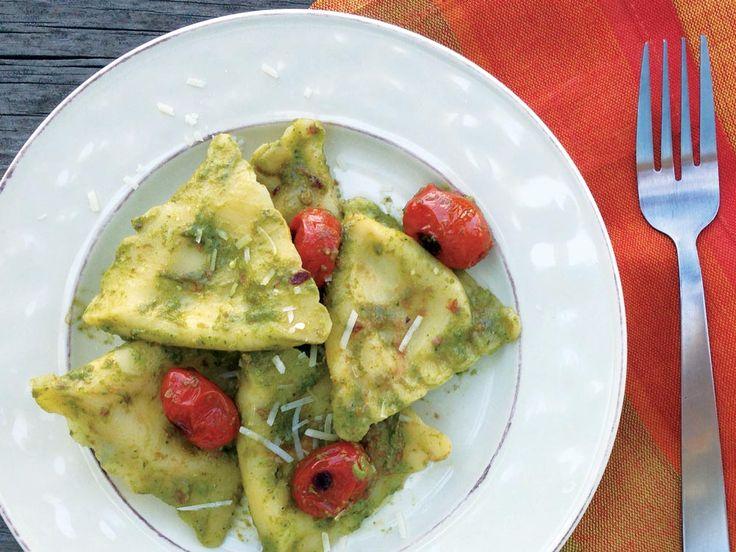 Chicken & Mozzarella Ravioli with Arugula Pesto and Tomatoes - Three ...