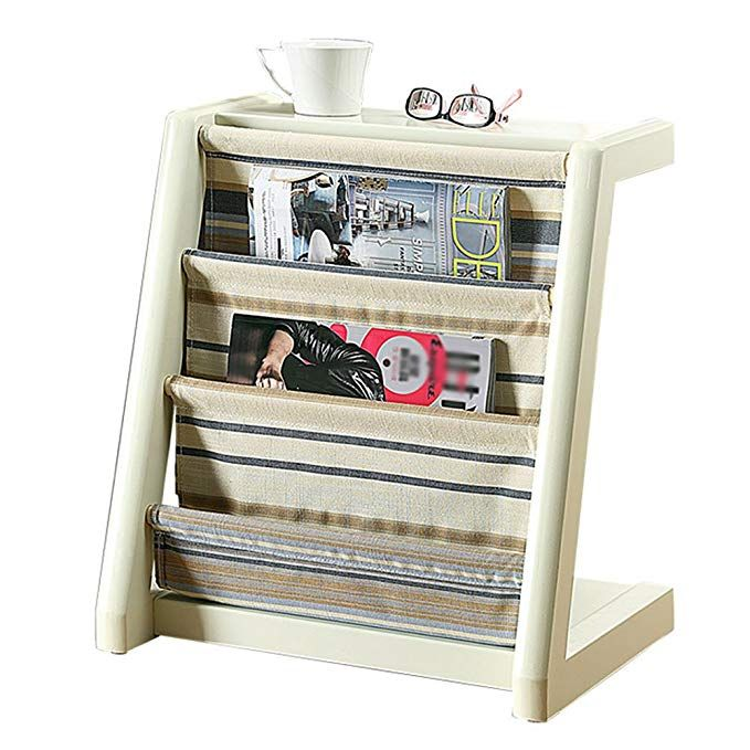 Emma Home Sj Magazine Stand Wooden Newspaper Stand Fabric Book Pocket Floor Standing Bookcase Living Ro Vertical Bookshelf Standing Bookshelf Wooden Bookcase