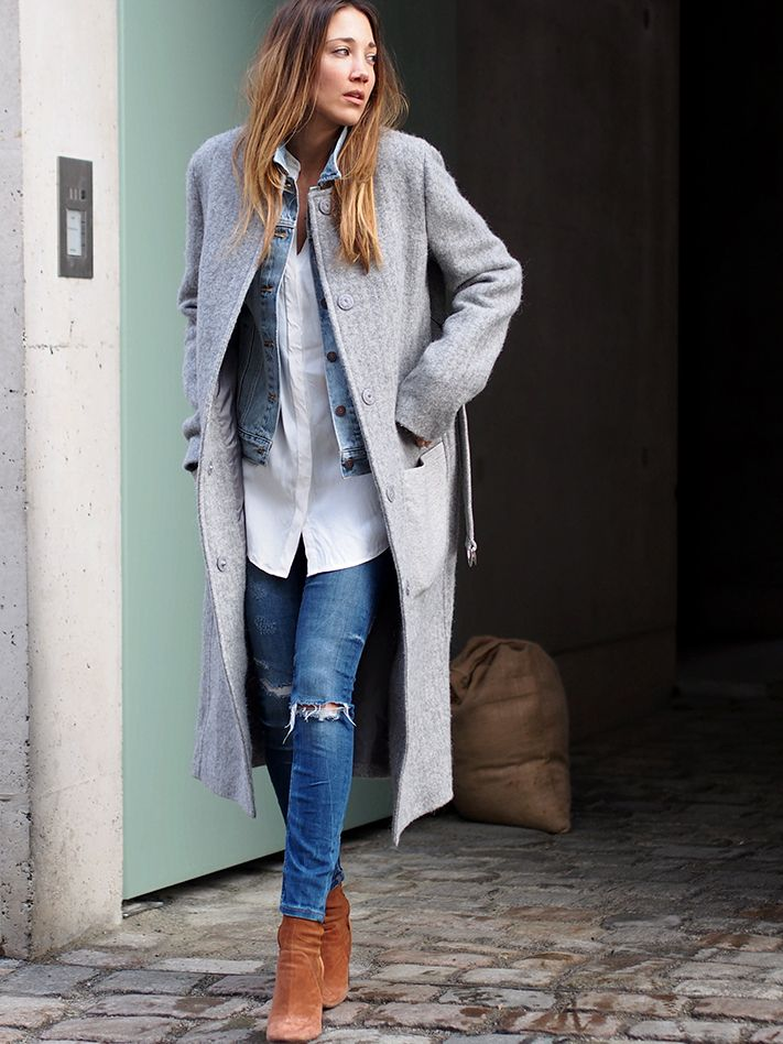 www.helloshopping.de, look of the day, denim look, long coat, dondup contrast herring grey, mantel aus schurwollgemisch, jades24, skinny ripped jeans, suede boots, zara, weisse lange bluse, weisses hemd, oversized, ootd, streetstyle, berlin, fashion blogger, hello shopping, how to wear, styling tipps, get the look, personal shopping