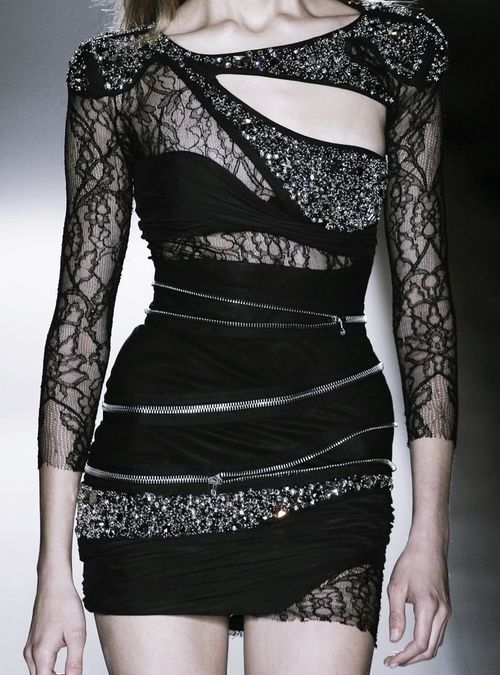 Balmain black lace and zipper mini dress