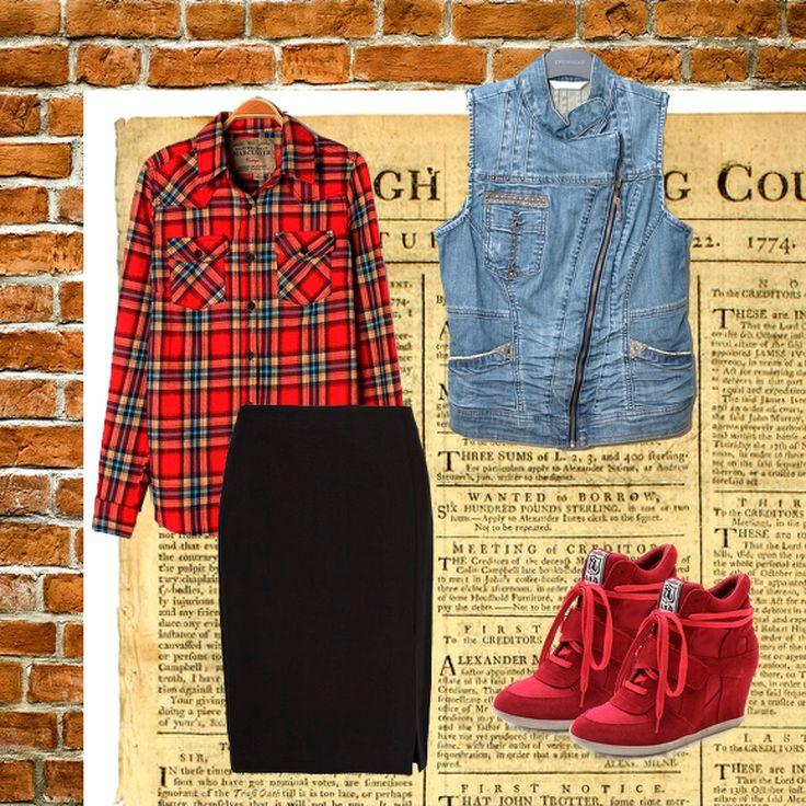 Рубашка с длинным рукавом на пуговицах Kira Plastinina, юбка-карандаш Mango (черный), жилет джинсовый Promod (серый), сникеры, кроссовки, кеды River Island (красный)
