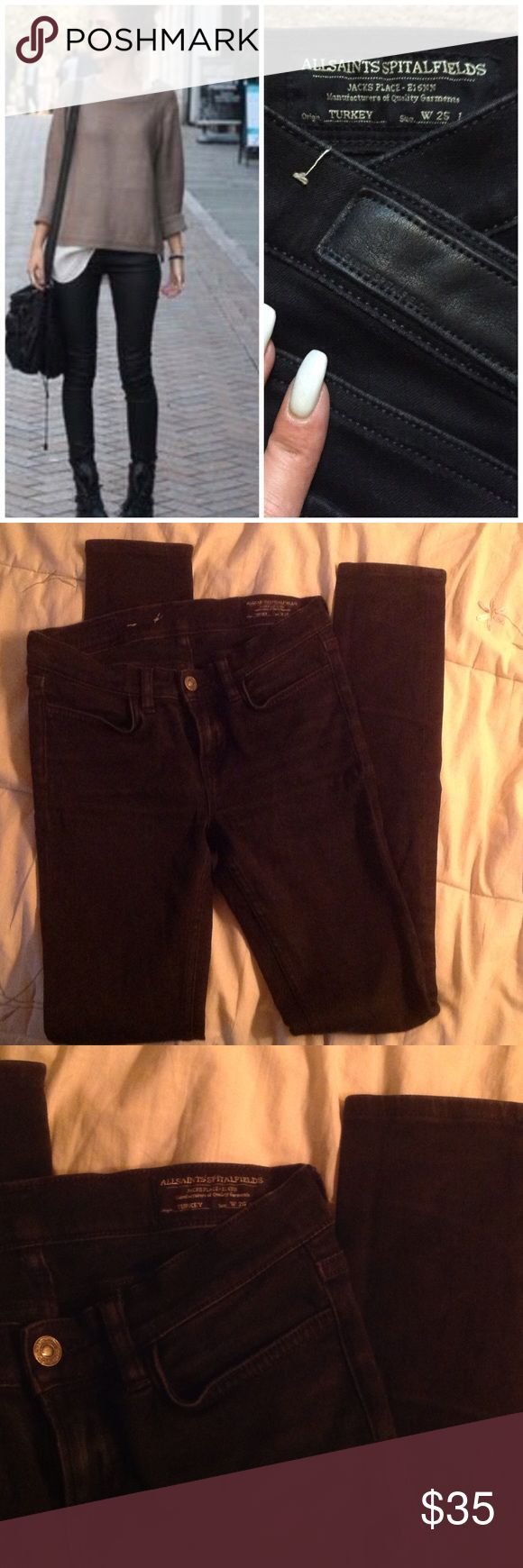 All Saints Spitalfields W 26 L 32 Washed Out Jeans Amazing jeans from All Saints, black washed out look.  Lightly used, W 26 L 32. All Saints Jeans