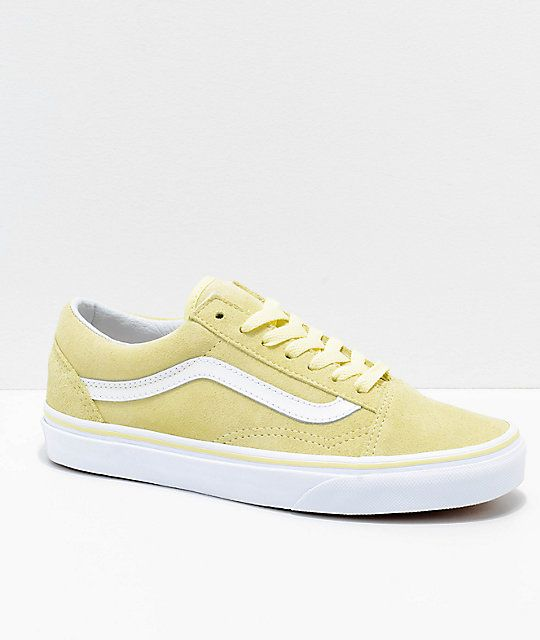 5bf166e3752836 Vans Old Skool Tender Yellow   White Suede Skate Shoes