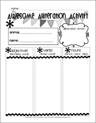 Alliteration Activity Freebie! Brainstorming sheet and publishing papers your kiddos will love from thecreativechalkboard.blogspot.com