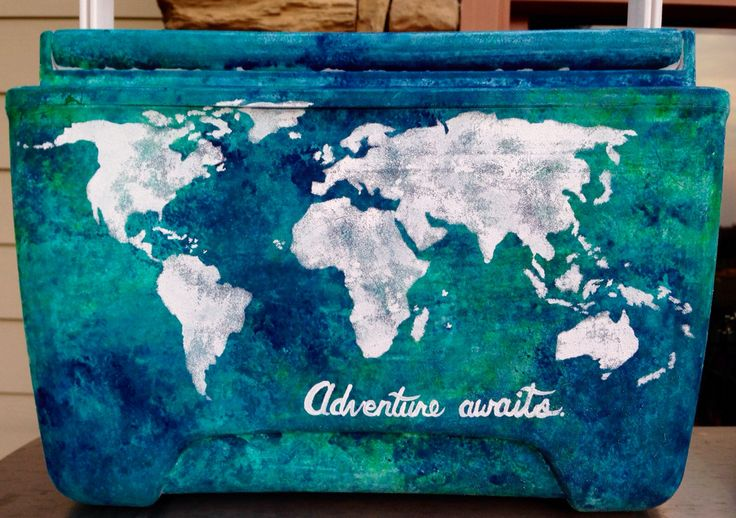 Loved painting this cooler with a travel theme! World map, adventure awaits. I used a sponge to create the watercolor effect
