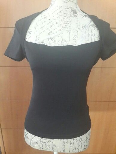 Black wide square neck Top