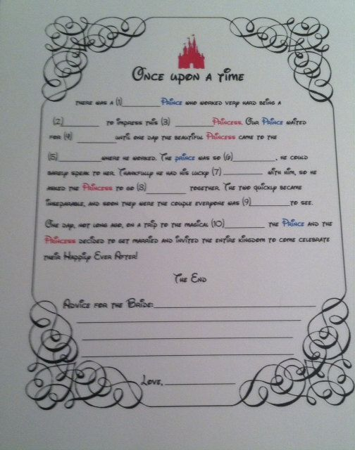 Instant Download  Bridal Shower Mad Libs  Disney by LindseyRae613