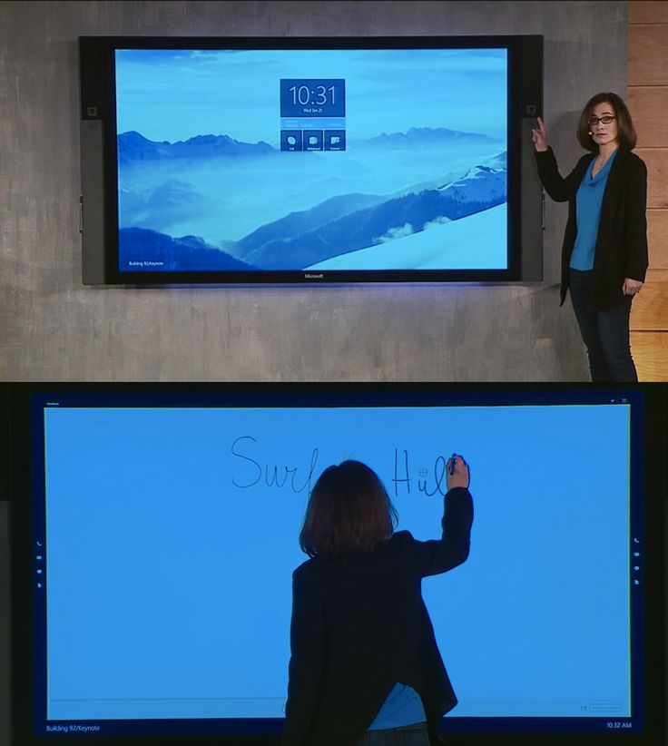 The Microsoft Surface Hub is a 84-inch 4K display, which can be mounted on the wall and used as a visualization tool during meetings and brainstorming sessions. Perfect for work!