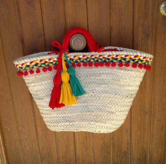 cesta-capazo trenzas y borlas grande cesta-capazo de palma,tejido cordón,trapillo madroños cestería,cosido a mano