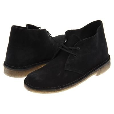 $110, Black Suede Desert Boots: Clarks Desert Boot Lace Up Boots Black Suede. Sold by Zappos. Click for more info: http://lookastic.com/women/shop_items/128130/redirect