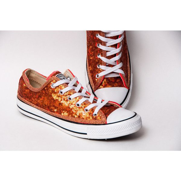 Tiny Sequin Starlight Orange Canvas All Star Low Top Sneakers Shoes ($115) ❤ liked on Polyvore featuring shoes, sneakers, grey, sneakers & athletic shoes, tie sneakers, women's shoes, gray sneakers, orange shoes, orange sneakers and bridal shoes