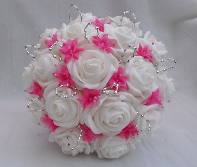 black white and hot pink wedding flower arrangements | WEDDING FLOWERS - BRIDES BRIDESMAIDS POSY BOUQUET IN WHITE HOT PINK ...