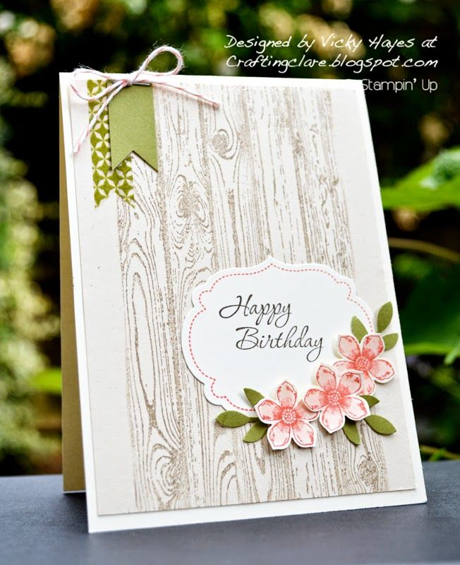 Hardwood and Petite Petals by Stampin Up - Stampin Up ideas and supplies from Vicky at Crafting Clares Paper Moments