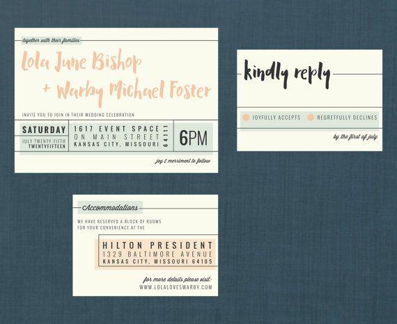 Modern Pastel Banner Wedding Suite // DIY PRINTABLE Invite + RSVP // Modern Wedding, Typography Invitation, Banner Invitation, Pastel