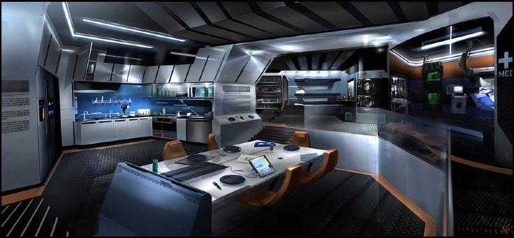 eudora kitchen common room by patrick o keefe spaceship interior pinterest futuristic. Black Bedroom Furniture Sets. Home Design Ideas