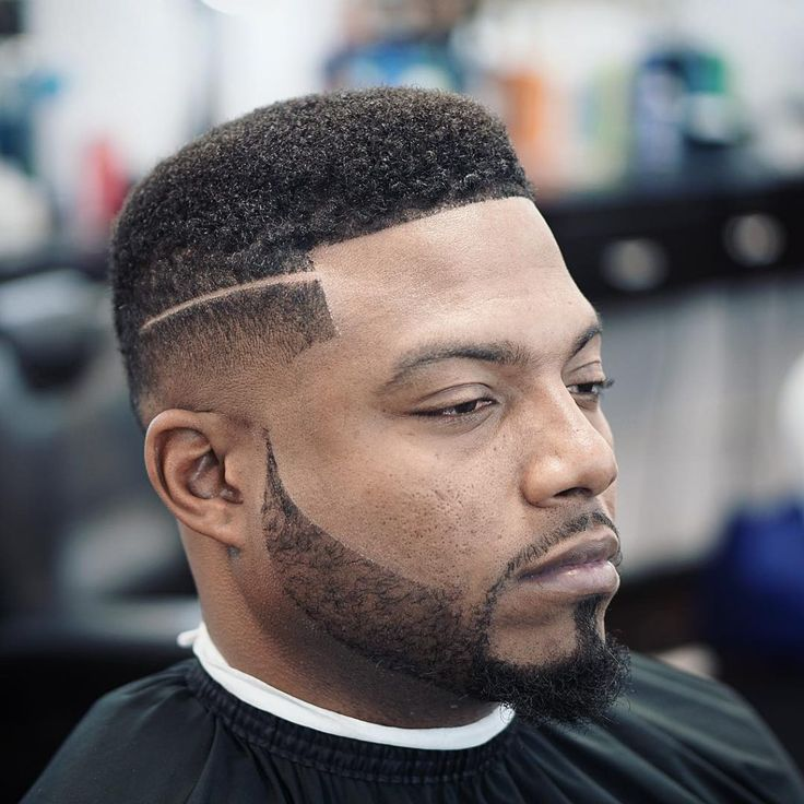 Black Men Haircuts , Box Fade with Parting