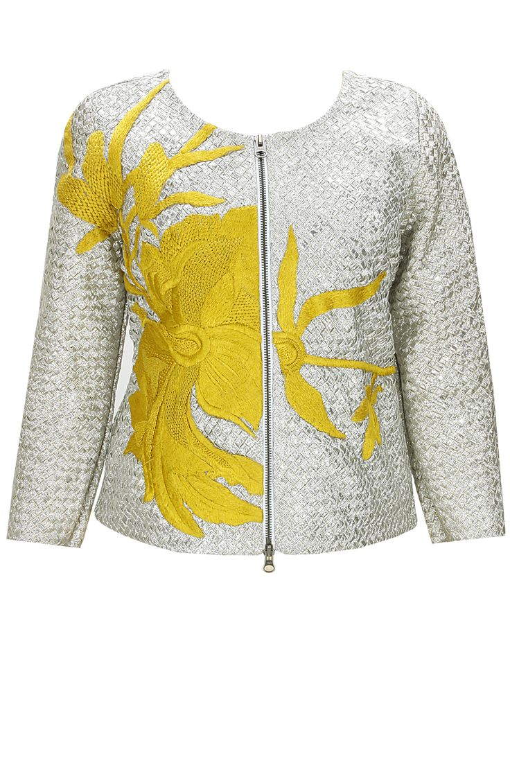 Silver yellow flower patchwork jacket available only at Pernia's Pop-Up Shop