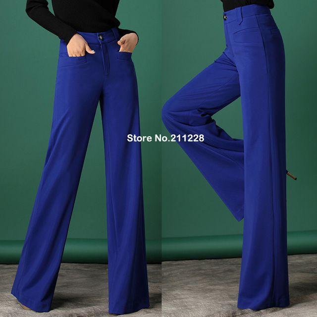 2015 nuovo stile di autunno di modo convenzionale delle donne gamba larga pantaloni allentati elegante plus size xxxxl blu a vita alta pantaloni delle donne
