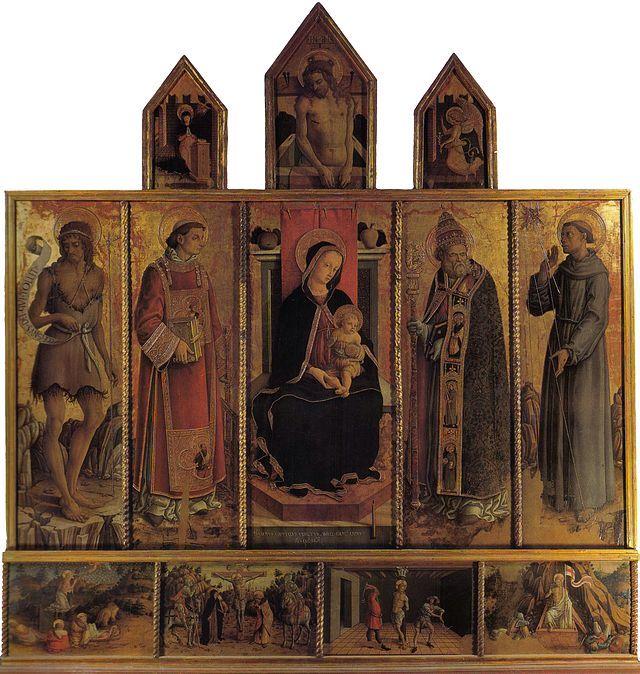 """CRIVELLI. """"Il Polittico di Massa Fermana"""".  dipinto a tempera e oro su tavola. circa 110x190 cm. 1468. chiesa dei Santi Lorenzo e Silvestro, Massa Fermana"""