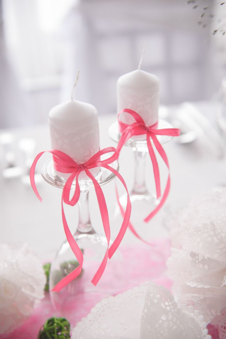 My own wedding: I loved the candles on the wine glasses, and the lace balls from cake paper!