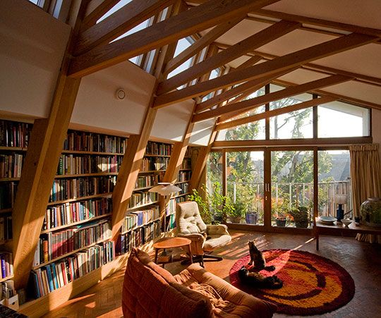 sun filled library with a view