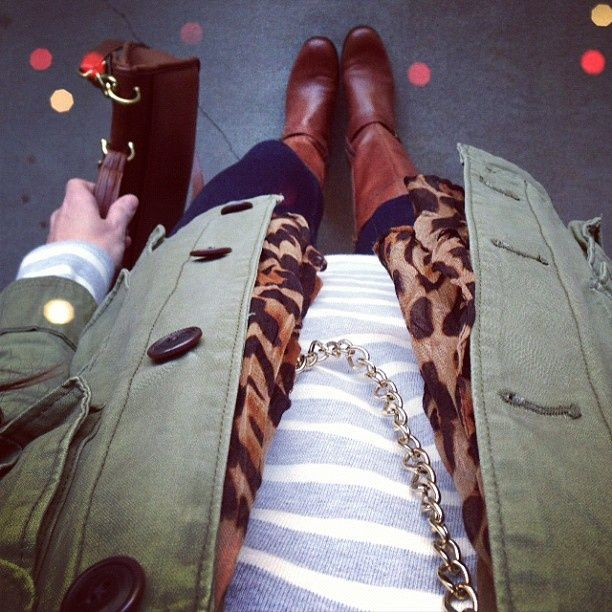 Love the neutral stripes with cheetah and army jacket