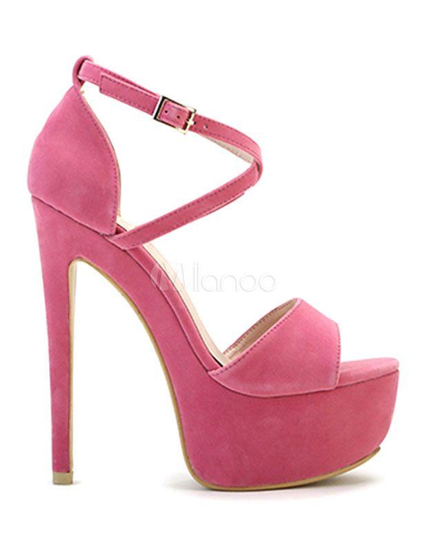 Sexy High Heels rot Wildleder Plattform Frauen Kreuz vorne Ankle Strap zehenoffenen Sandals(6.3