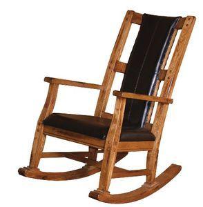 Sunny Designs 1935RO Sedona Rocker with Black Seat and Back, Rustic Oak Finish