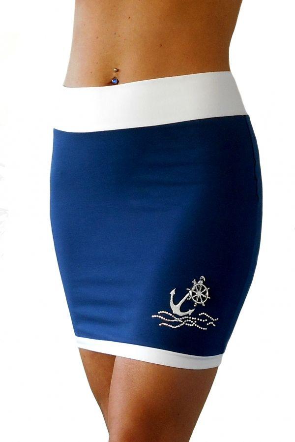 Lovely navy skirt for summer Tengerész mintás, sötétkék szoknya