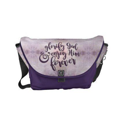"""Glorify & Enjoy God"" Purple Small Messenger Bag - gift for him present idea cyo design"