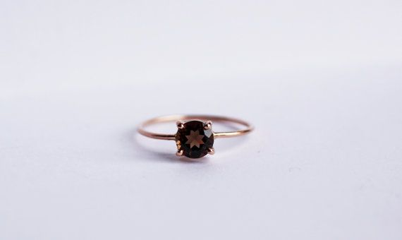 14K Rose Gold Solitaire Ring Smoky Topaz Rustic by CSfootprints