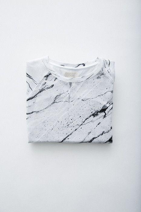 Soulland Faux Playtype — White Marble Sweatshirt