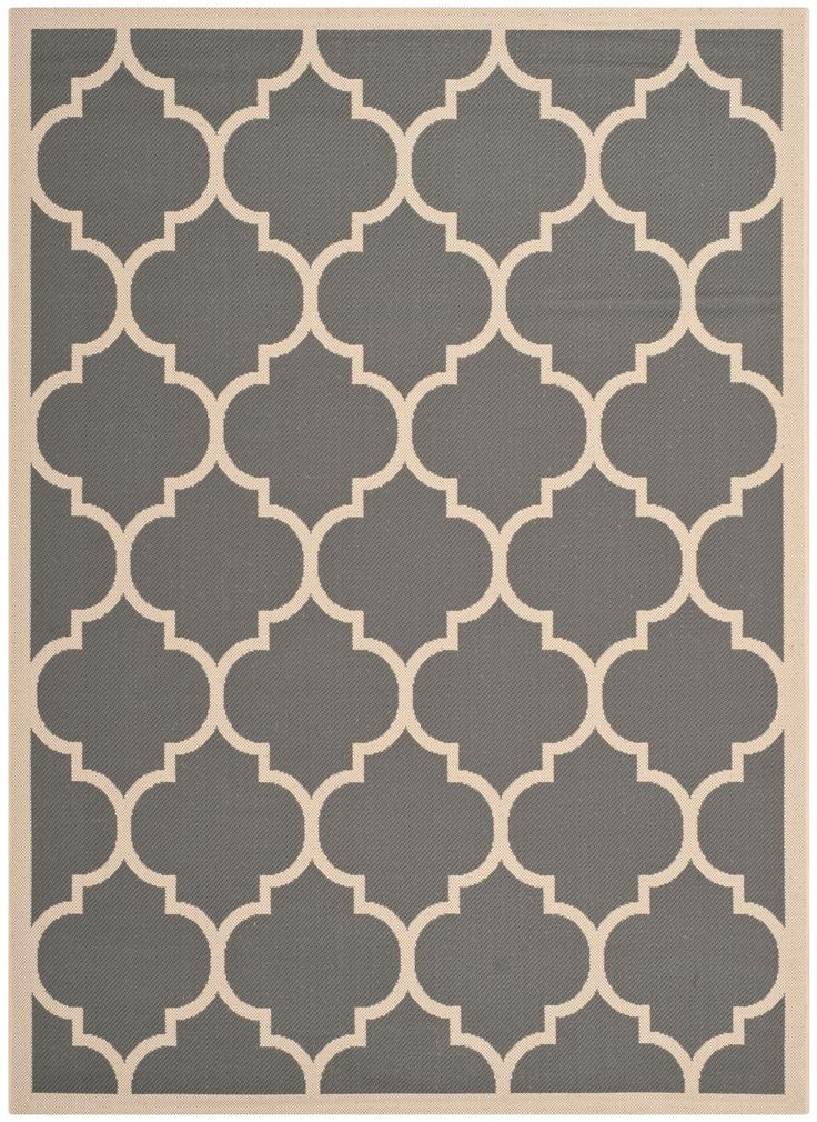 CY6914-246 Rug from Courtyard collection.  Moroccan tile outdoor rugs, such as this sublime beige and grey indoor-outdoor carpet, CY6914-246, can be found in the Courtyard Collection by Safavieh.