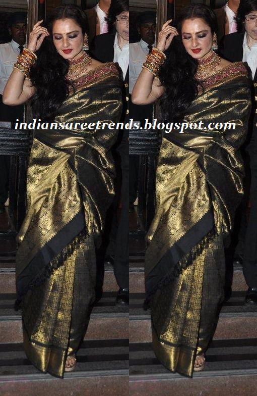 Latest Traditional and Designer Sarees: Rekha in Black and Gold Kanjeevaram Saree
