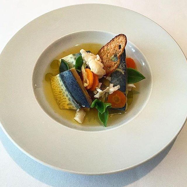 Mackerel and lobster escabeche coastal ice plant #ariarestaurant #special  @benjtur