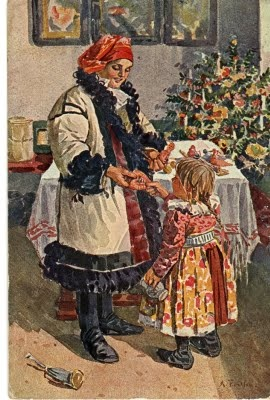 Antique Christmas Postcard A Traditional Czech And