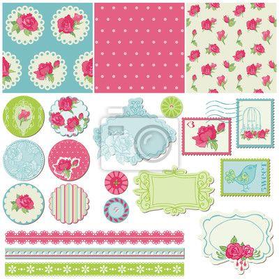 Wall Decal scrapbook design elements - rose flowers in vector - beautiful • PIXERSIZE.com