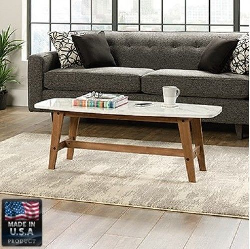 Coffee Table Marble Finish Top Wooden Living Room Home Modern Wood Furniture #CoffeeTable