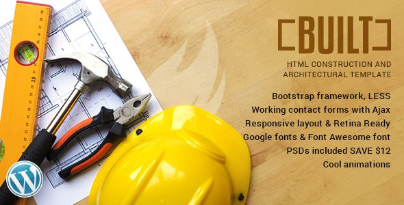Built is an Professional HTML Template made specially for Construction Businesses. It includes wide...