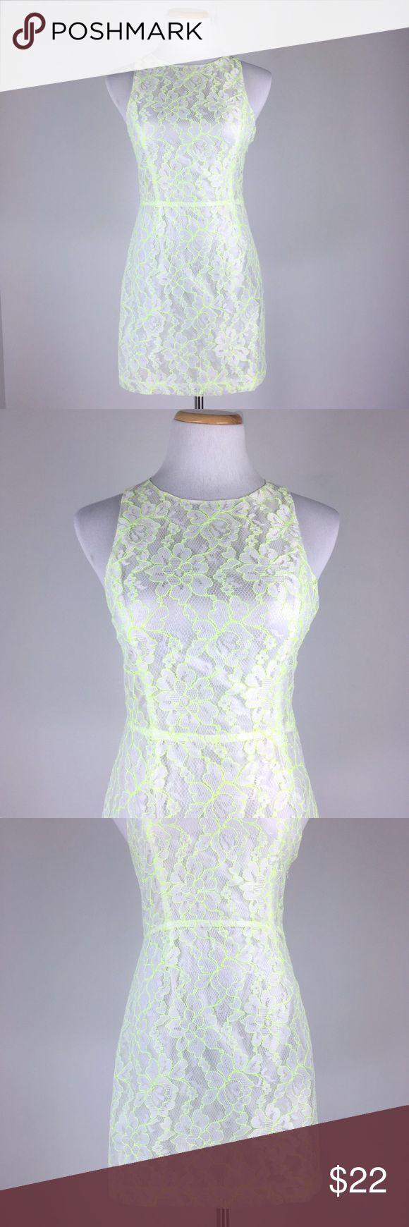 """Lush Size S Sleeveless Floral Lace Mini Dress This is a size S sleeveless crewneck floral lace mini dress by Lush Nordstrom. White & neon yellow color. Fully lined. Back zipper. Lightweight. Semi sheer. Open back design.  Pre-owned. Great shape and in excellent condition. Gently used with no flaws. No rip, no stain and no holes. Material: 100% Polyester Measurement: Pit to Pit: 15.5"""" Garment Length: 31.5"""" Waist: 26"""" Lush Dresses Mini"""