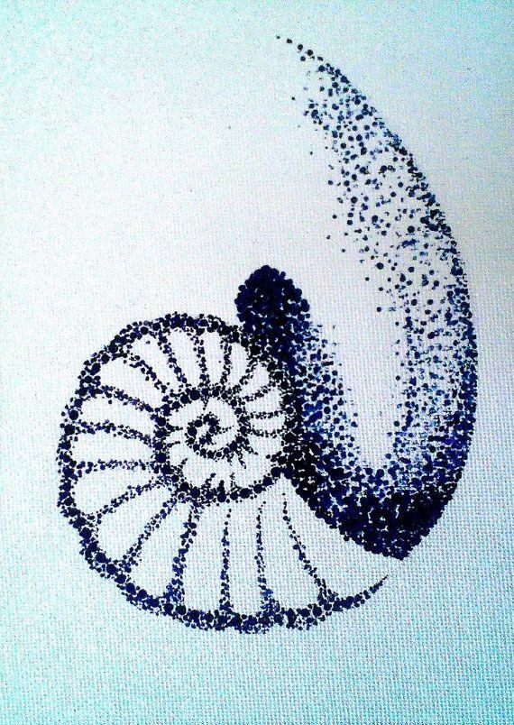 Nombre d'or tatouage toile peinture 5 « x 7 » pointillisme Style orphelin noir du Cosima