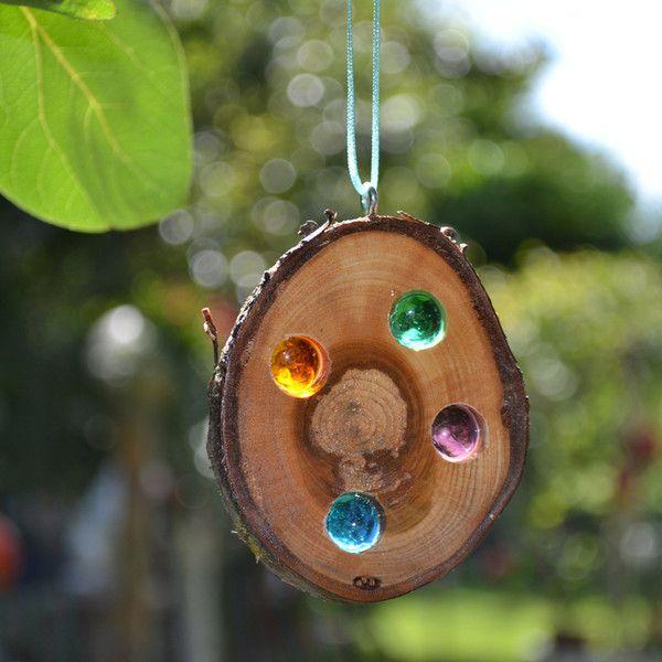 Gartendekoration mini glasstein holz sonnenf nger ein for Gartendekoration holz