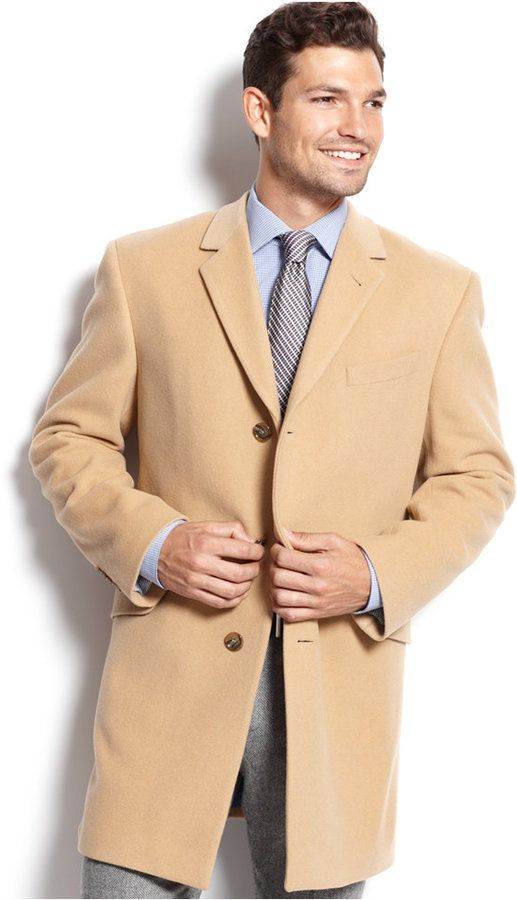 Tommy Hilfiger Cashmere-Blend Trim-Fit Over Coat, Tommy Hilfiger's dapper overcoat features a dash of cashmere for a luxurious feel.