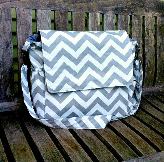 Large Chevron Diaper Bag Messenger Bag by MyaCdesign on Etsy